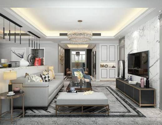 现代轻奢客餐厅, 电视柜, 多人沙发, 茶几, 边几, 台灯, 吊灯, 沙发躺椅, 置物柜, 现代