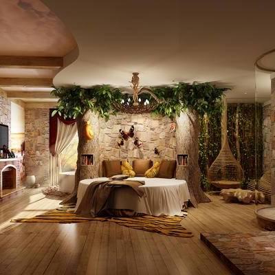 现代客房, 双人床, 吊椅, 桌子, 椅子, 地毯, 现代