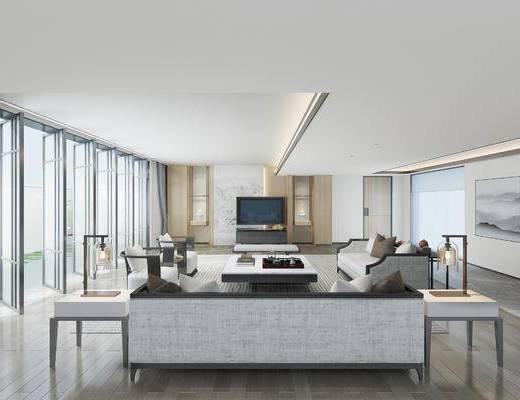 新中式客厅, 新中式沙发, 椅子, 边几, 电视柜, 壁画, 台灯, 新中式