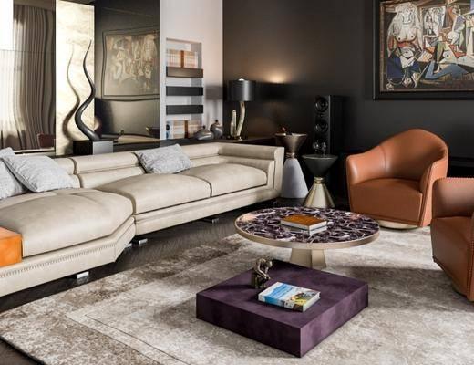 沙发组合, 多人沙发, 茶几, 壁画, 音响, 边几, 置物架, 台灯, 地毯, 现代