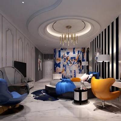 现代卧室, 电视柜, 双人床, 吊灯, 桌子, 椅子, 边几, 落地灯, 壁画, 现代