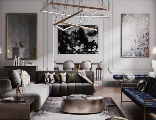 简欧客厅, 多人沙发, 落地灯, 茶几, 吊灯, 壁画, 桌子, 椅子, 沙发躺椅, 简欧