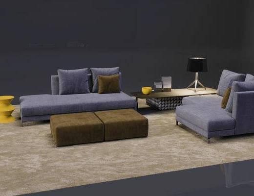 美式, 多人沙发, 沙发, 茶几, 边几, 台灯