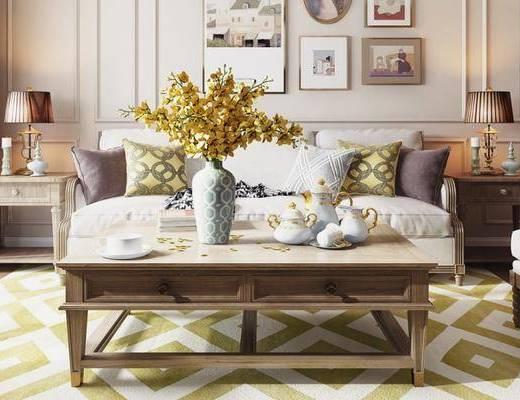 后现代桌椅组合, 多人沙发, 茶几, 边几, 摆件, 沙发凳, 后现代