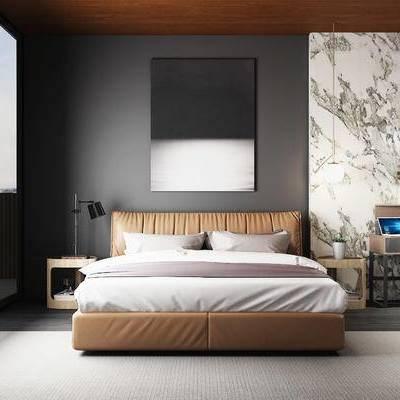 床具组合, 壁画, 桌子, 椅子, 床头柜, 台灯, 地毯, 现代
