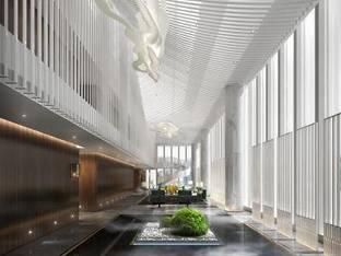 现代会所中庭休息区3D模型