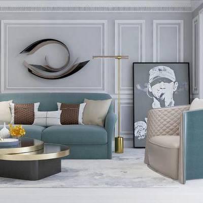沙发组合, 多人沙发, 茶几, 相框, 边几, 落地灯, 新古典