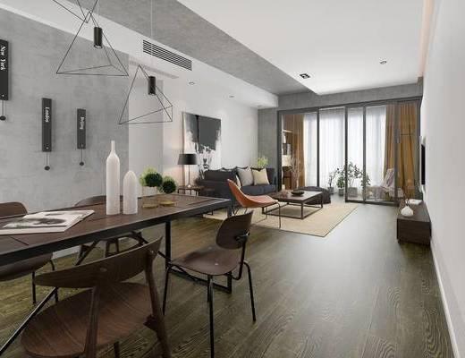 现代客餐厅, 吊灯, 桌子, 椅子, 电视柜, 多人沙发, 茶几, 沙发凳, 边几, 台灯, 现代
