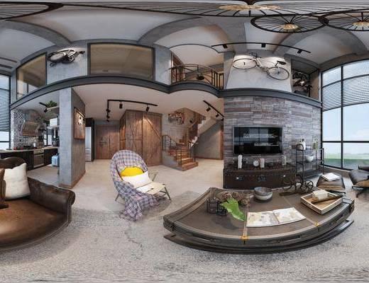 现代客餐厅, 多人沙发, 椅子, 茶几, 吊灯, 橱柜, 桌子, 壁画, 现代