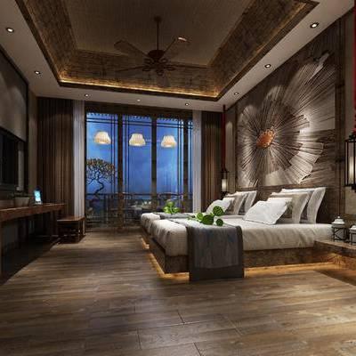中式客房, 单人床, 吊灯, 壁画, 桌子, 椅子, 中式