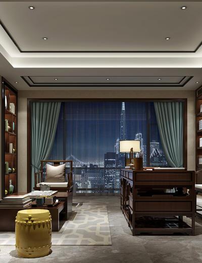新中式书房, 桌子, 椅子, 置物柜, 台灯, 壁画, 多人沙发, 茶几, 凳子, 新中式