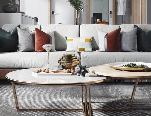 北欧沙发组合, 双人沙发, 茶几, 椅子, 壁画, 边柜, 北欧