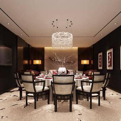 中式包间, 吊灯, 桌子, 椅子, 壁画, 中式
