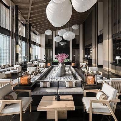 新中式售楼处, 多人沙发, 沙发椅, 茶几, 前台, 新中式