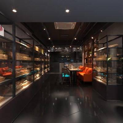 现代咖啡厅, 桌子, 椅子, 置物柜, 现代