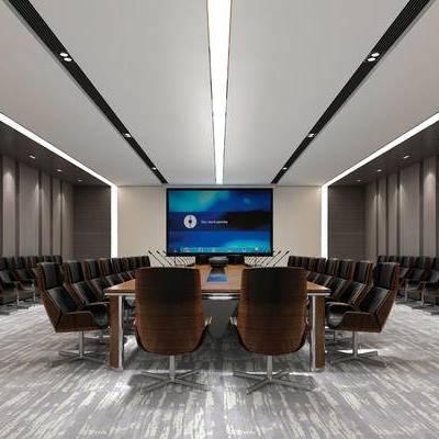 会议室, 桌子, 椅子, 壁灯, 投影仪, 现代