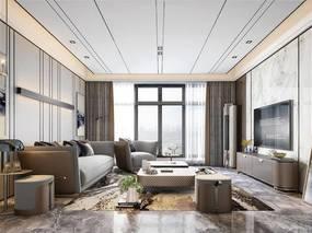 现代简约, 客厅, 沙发茶几组合, 植物盆栽, 空调