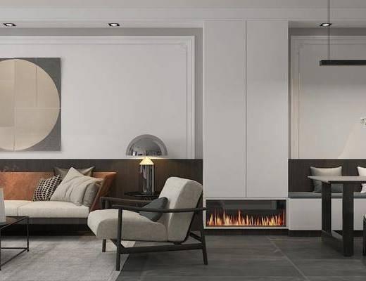现代客厅, 客厅餐厅, 客厅, 沙发组合, 餐桌椅