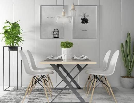 单椅, 桌子, 壁画, 盆栽, 边几, 现代