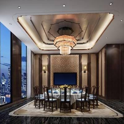 中式包间, 桌子, 椅子, 吊灯, 壁灯, 中式