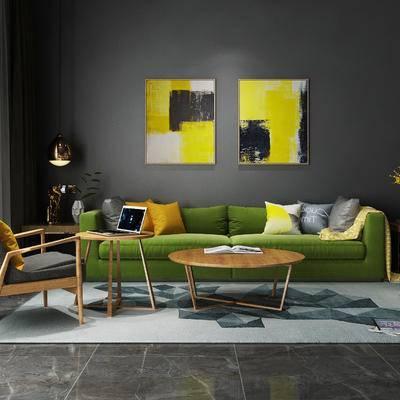 北欧, 沙发, 茶几, 沙发椅, 挂画, 吊灯