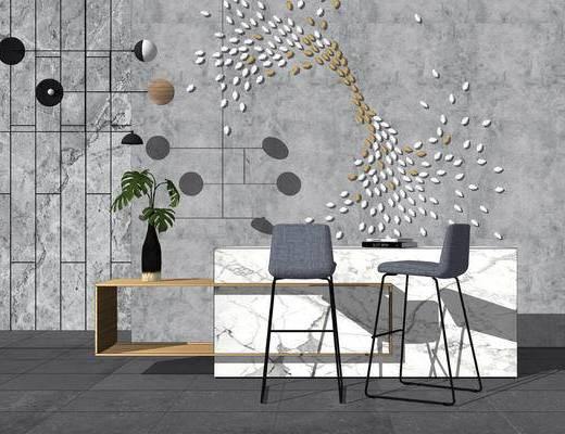 桌椅组合, 桌子, 椅子, 现代, 吊灯, 墙饰, 吧台, 花瓶, 植物