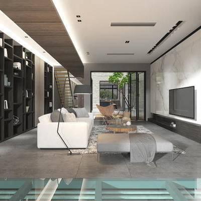 客厅, 落地灯, 椅子, 多人沙发, 置物柜, 地毯, 电视柜, 现代