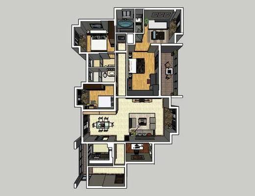 现代客厅, 简约客厅, 客厅餐厅, 沙发组合