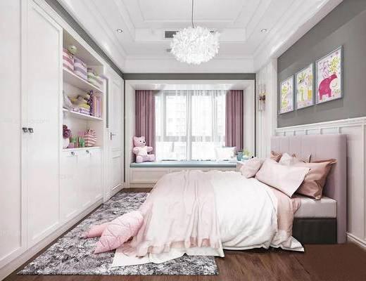 北欧简约, 卧室, 床具组合, 吊灯, 置物柜, 陈设品组合