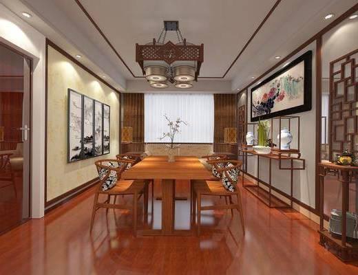 中式餐厅, 吊灯, 桌子, 椅子, 壁画, 边几, 双人沙发, 中式