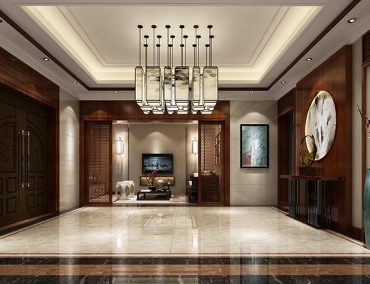 玄关走廊, 吊灯, 壁画, 边几, 花瓶, 茶几, 多人沙发, 壁灯, 凳子, 中式