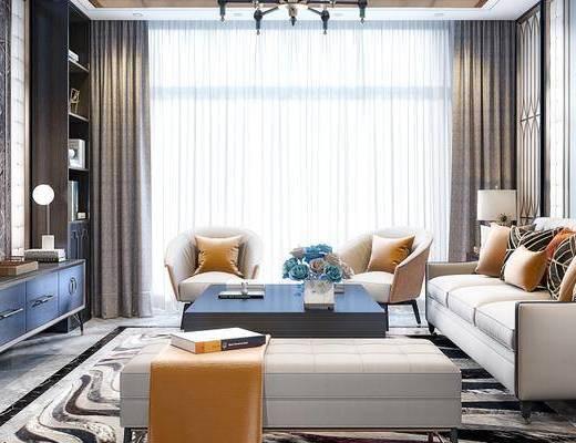 后现代客厅, 电视柜, 多人沙发, 茶几, 壁画, 吊灯, 置物柜, 沙发躺椅, 椅子, 边几, 台灯, 后现代