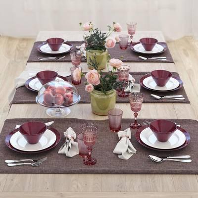 简欧, 餐桌, 酒杯, 花瓶, 餐具, 水果