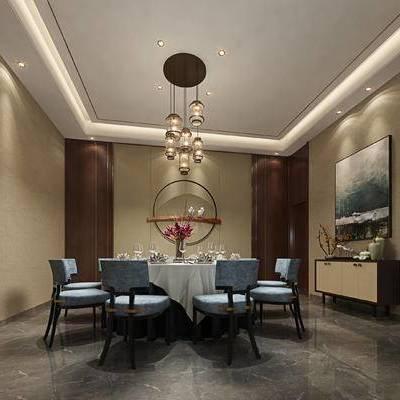 中式包间, 桌子, 椅子, 壁画, 边柜, 吊灯, 花瓶, 中式