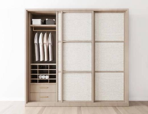 摆件组合, 衣柜, 衣物, 新中式