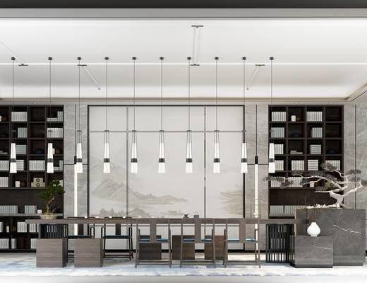新中式茶艺间, 茶桌, 单椅, 吊灯, 书架, 盆栽, 新中式