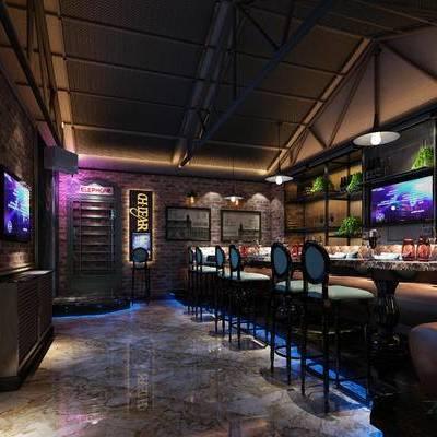 KTV, 吧台, 吧椅, 置物柜, 多人沙发, 吊灯, 现代