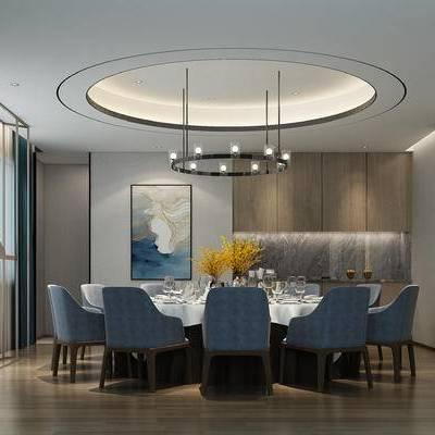 现代餐厅, 吊灯, 桌子, 椅子, 花瓶, 置物柜, 壁画, 现代