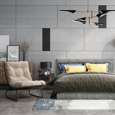 床具组合, 双人床, 边几, 壁画, 吊灯, 落地灯, 地毯, 现代