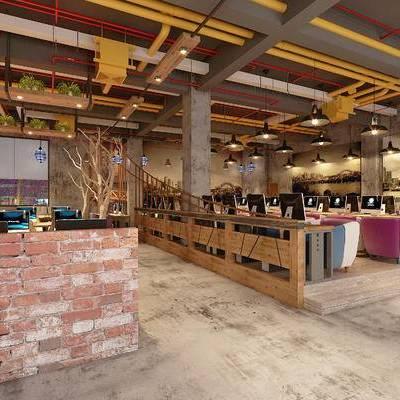 网吧, 单人沙发, 桌子, 椅子, 电脑, 现代