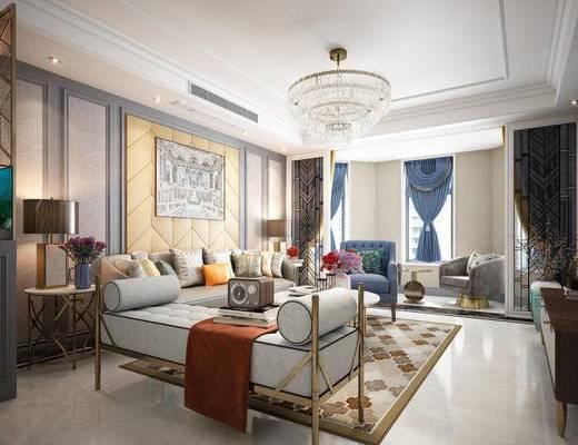 简欧, 客厅, 多人沙发, 茶几, 吊灯, 窗帘, 花瓶, 壁灯