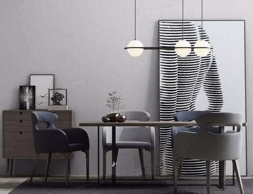 现代简约, 餐桌椅组合, 吊灯, 现代