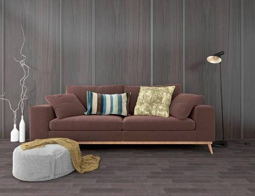北欧沙发组合, 双人沙发, 落地灯, 沙发凳, 北欧