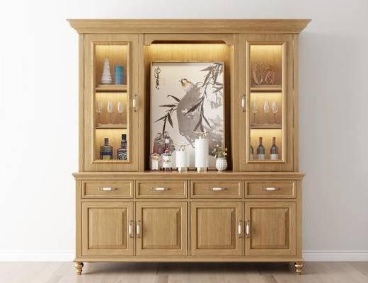 摆件组合, 酒柜, 挂画, 新中式