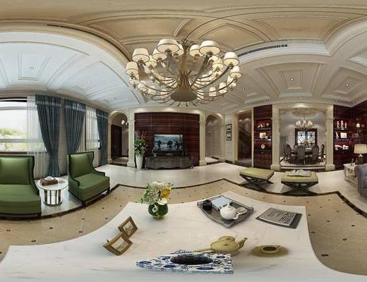 欧式客餐厅, 电视柜, 茶几, 多人沙发, 边几, 椅子, 桌子, 置物柜, 凳子, 台灯, 吊灯, 欧式