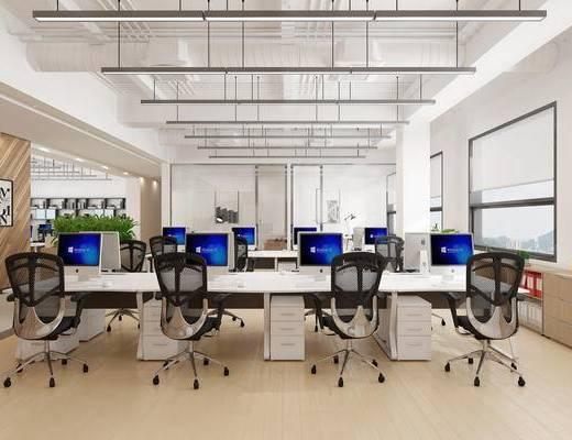 现代简约, 办公室, 桌椅组合, 电脑, 植物