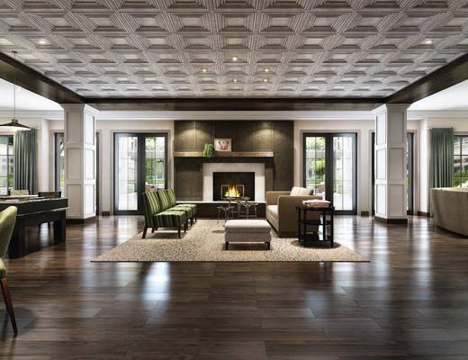 会客区, 多人沙发, 边几, 椅子, 壁炉, 沙发凳, 地毯, 现代