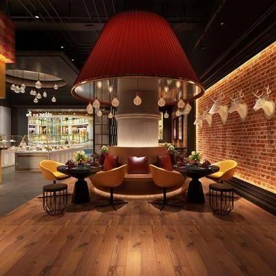 现代咖啡厅, 桌子, 椅子, 吊灯, 壁灯, 凳子, 壁画, 现代