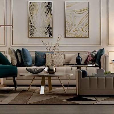 现代客厅, 壁画, 边几, 台灯, 落地灯, 花瓶, 多人沙发, 椅子, 现代