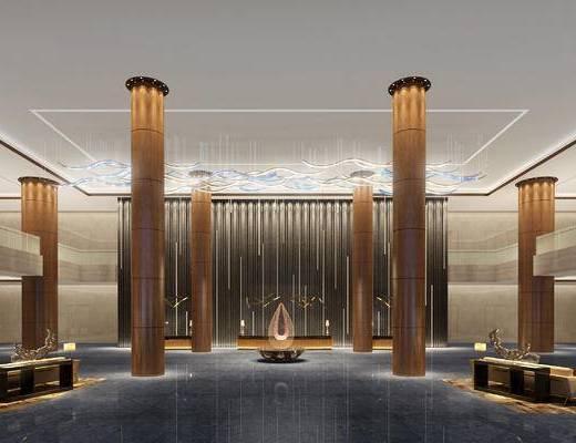 大厅, 吊灯, 前台, 边几, 多人沙发, 茶几, 台灯, 现代